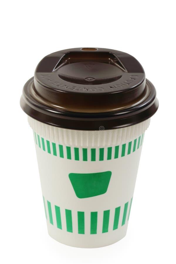 Copo de papel do café branco e verde isolado com trajeto de grampeamento imagens de stock