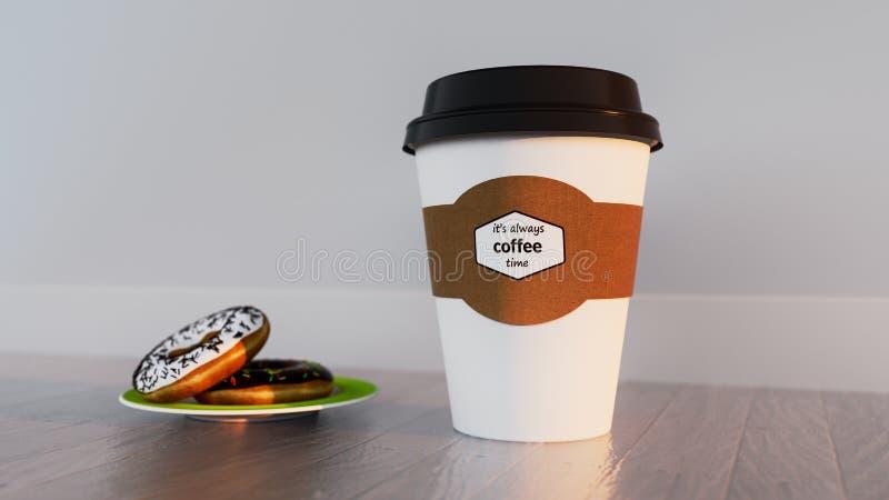 Copo de papel do café com anéis de espuma ilustração royalty free