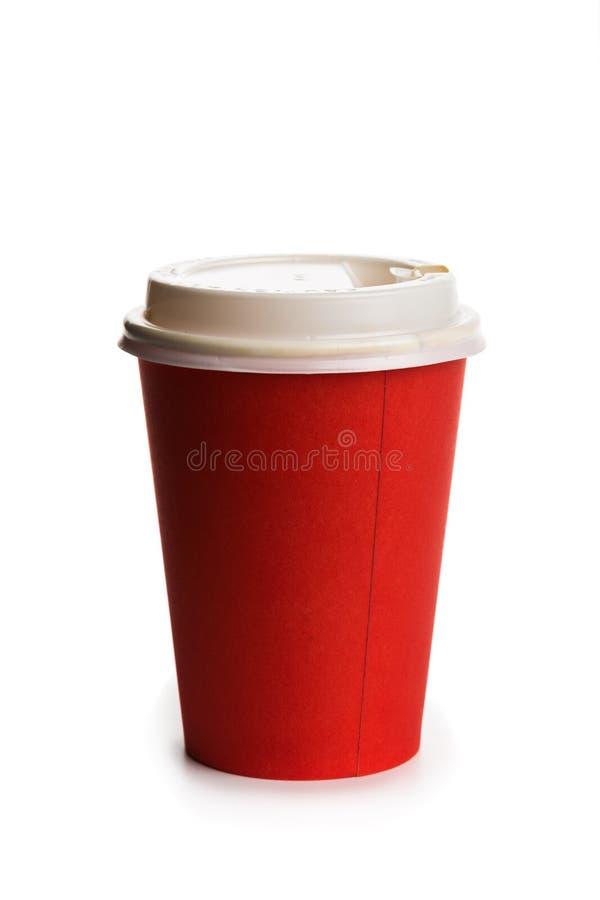 Copo de papel vermelho em um fundo branco fotos de stock royalty free