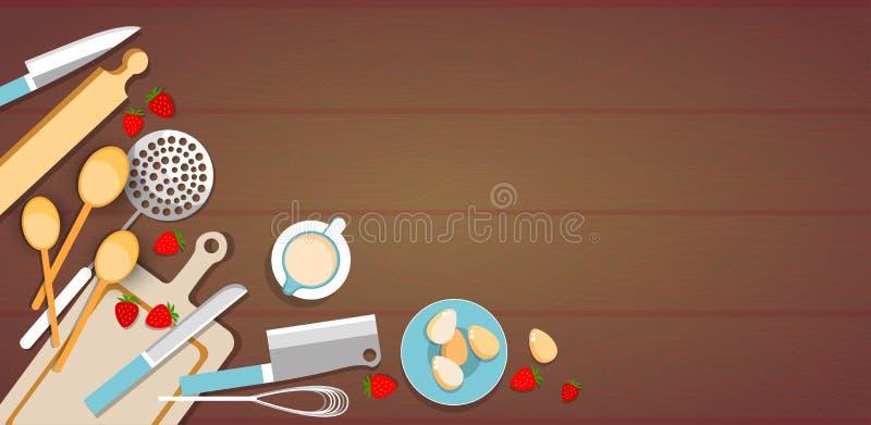Copo de Process Eggs Strawberry do cozinheiro dos utensílios de cozimento, mesa de cozinha ilustração stock