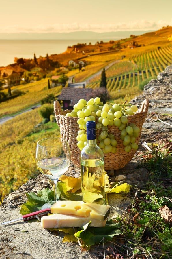 Copo de vinho e cesta das uvas fotografia de stock