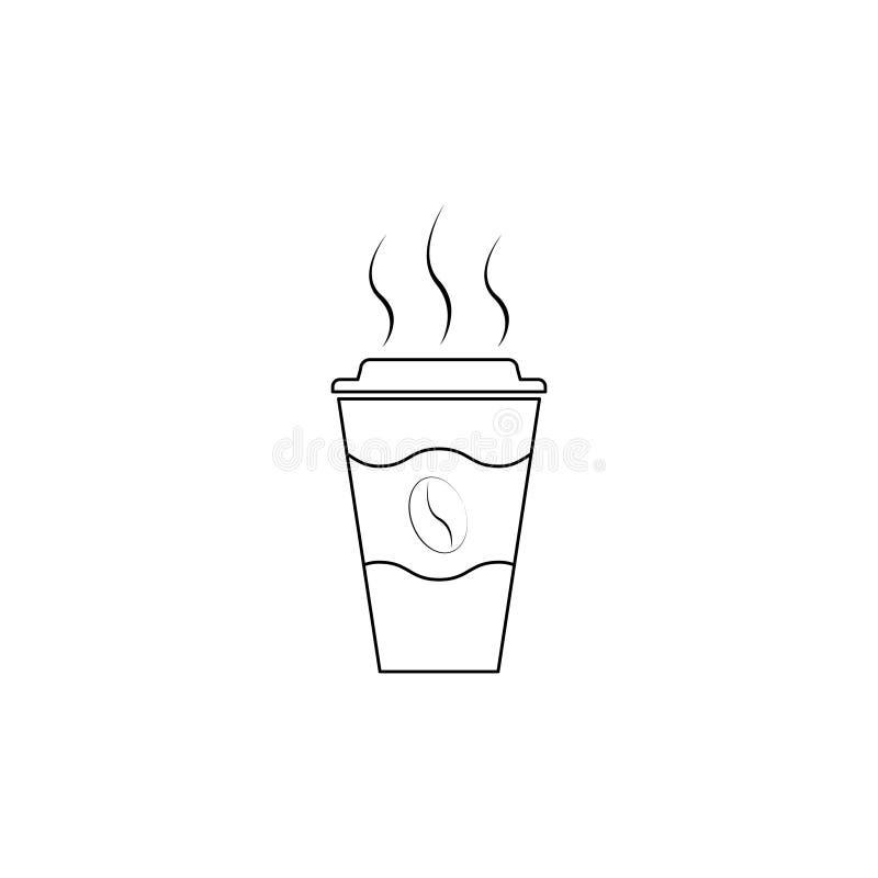 Copo descartável, linha do ícone do café com feijão de café ilustração stock