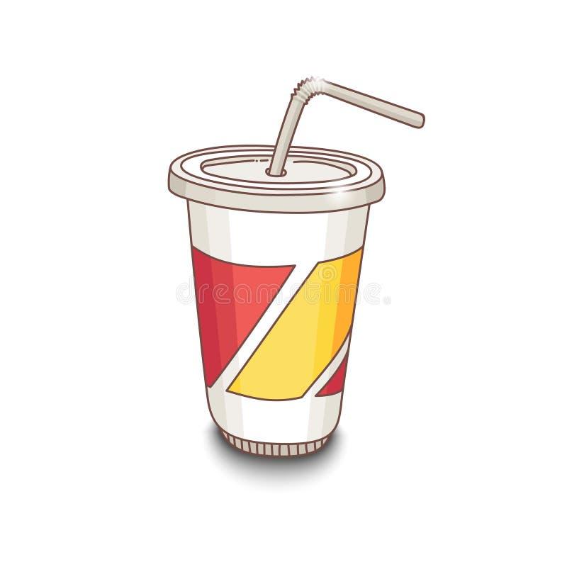 Copo desenhado à mão bonito do estilo dos desenhos animados com bebida Sombra no fundo branco ilustração royalty free