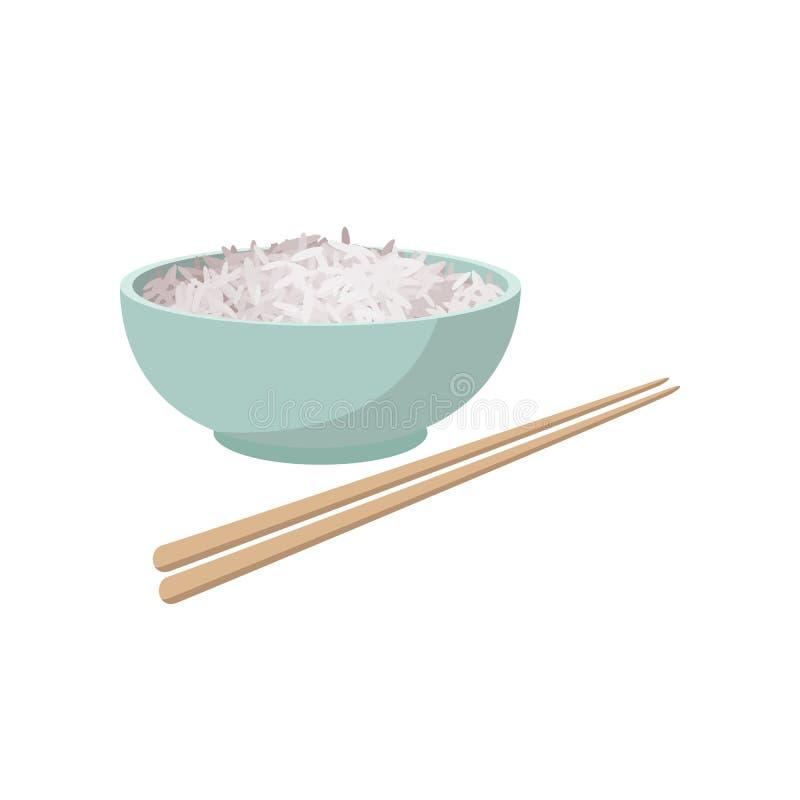 Copo do arroz, estilo dos desenhos animados ilustração stock