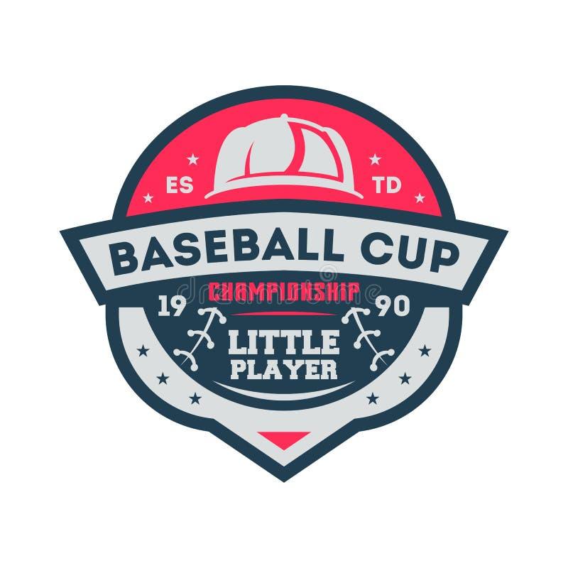 Copo do basebol para a etiqueta pequena do vintage do jogador ilustração royalty free