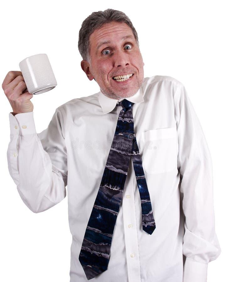 Copo do bebedor do café de Java demasiada cafeína foto de stock
