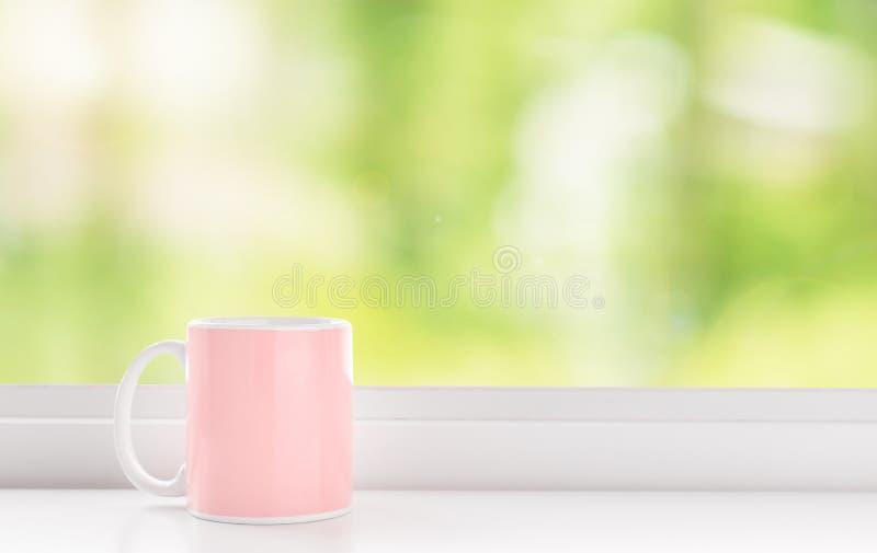 Copo do café cor-de-rosa imagens de stock