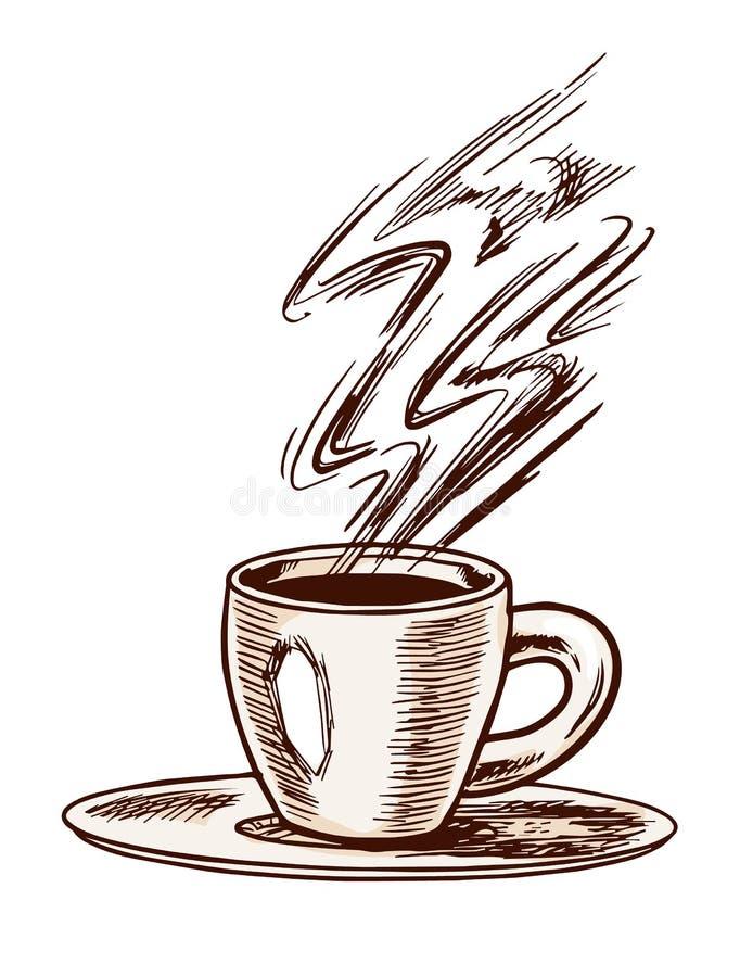Copo do café do café no estilo do vintage Esboço retro gravado tirado mão para etiquetas Bebida quente Cappuccino ou latte ilustração do vetor