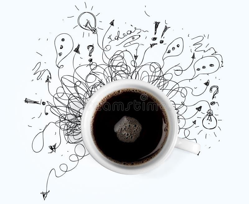 Copo do café preto e das garatujas no branco fotos de stock