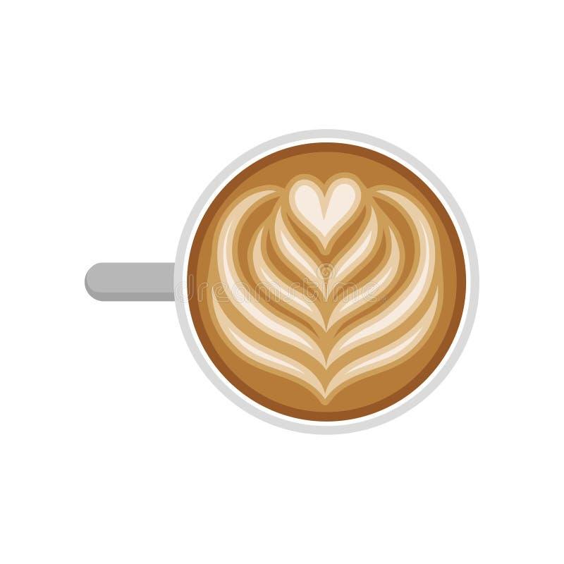Copo do café saboroso com arte da tulipa e do latte do coração Bebida quente Bebida deliciosa da manhã Vetor liso para o menu do  ilustração stock
