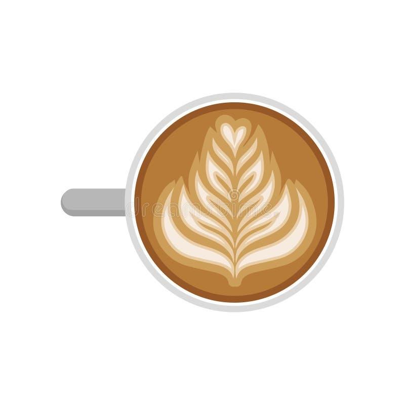 Copo do cappuccino com arte do latte do rosetta, vista superior Bebida quente da manhã Café saboroso e do aroma Projeto liso do v ilustração do vetor