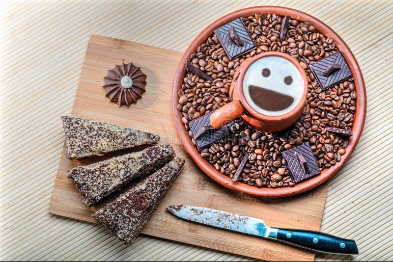 Copo do cappuccino e do café fotografia de stock royalty free