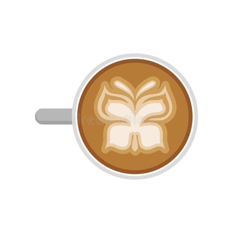 Copo do cappuccino quente com arte do latte na forma da borboleta Vetor liso para anunciar o cartaz da cafetaria ilustração do vetor