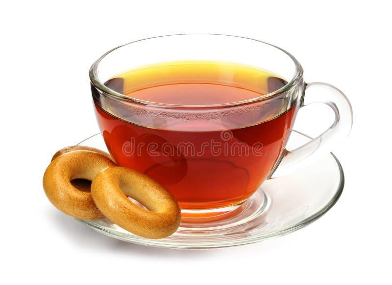 Copo do chá com bagels imagens de stock royalty free