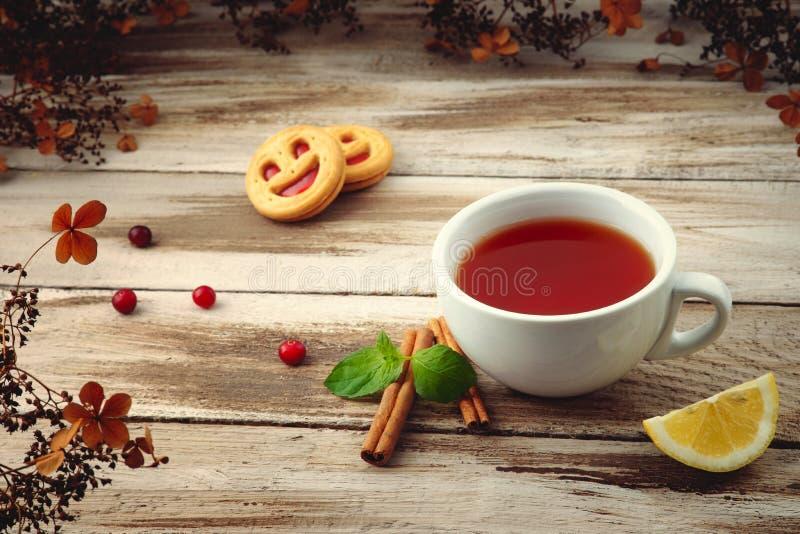 Copo do chá com bolinhos fotografia de stock