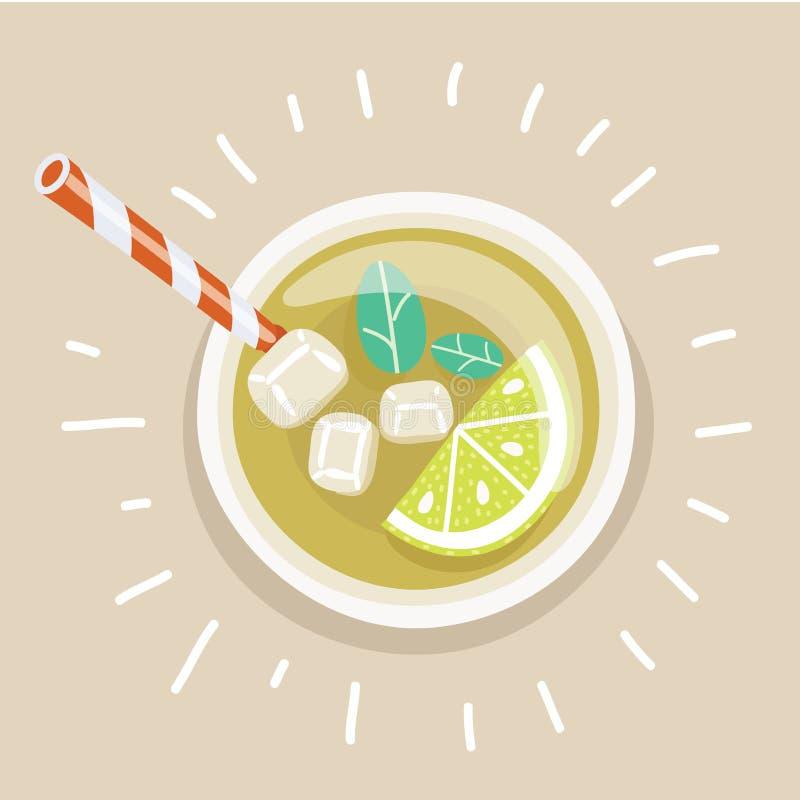 Copo do chá congelado frio do limão com palha ilustração do vetor