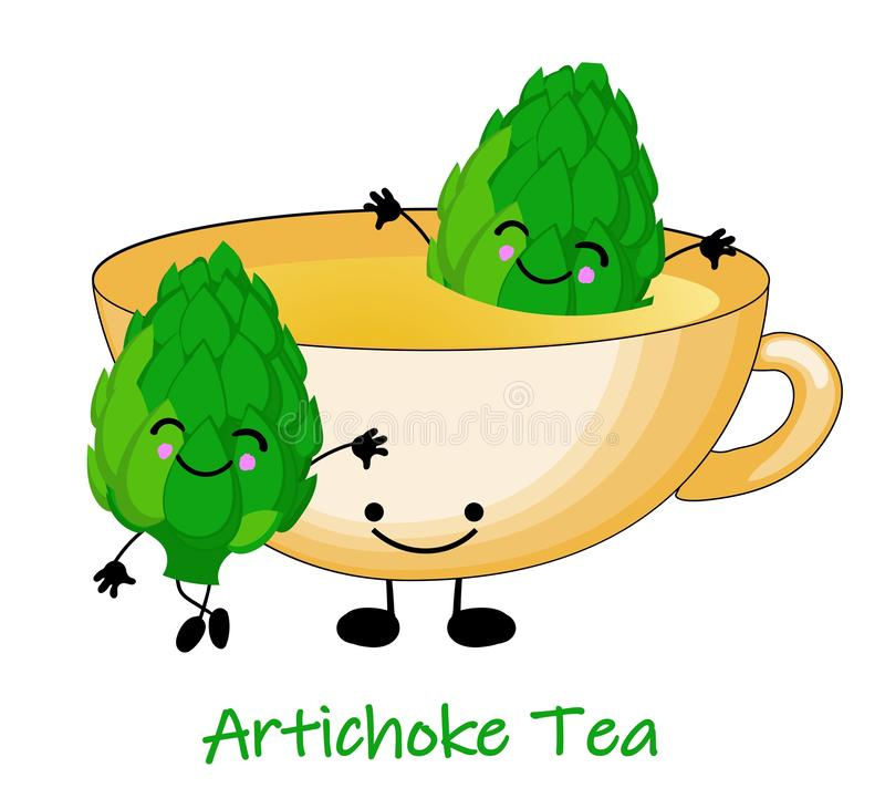 Copo do chá das alcachofras Ilustra??o bonito das crian?as Ilustra??o do vetor no fundo branco ilustração stock