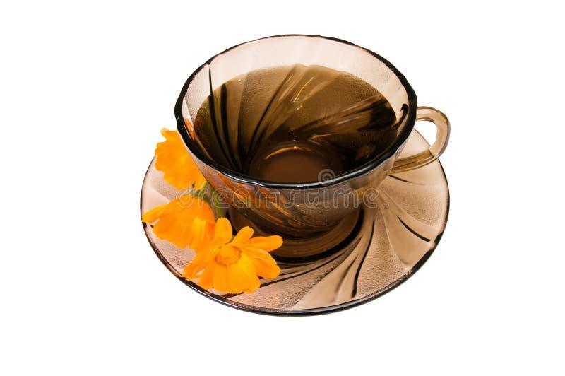 Copo do chá perfumado em um branco. imagem de stock