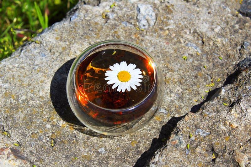 Copo do ch? de camomila em um fundo de pedra cinzento fotografia de stock