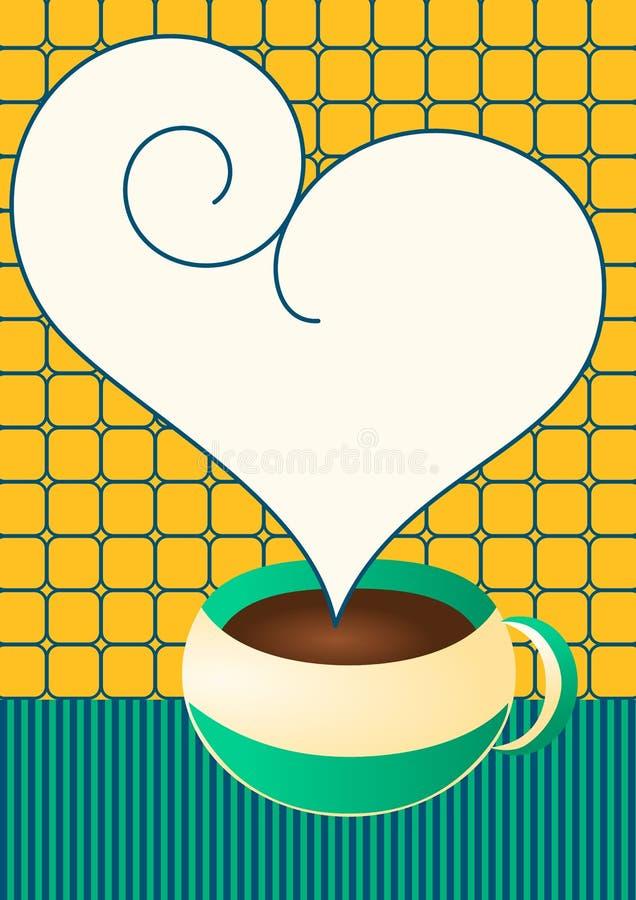 Copo do chocolate ou de café com discurso da bolha do coração foto de stock