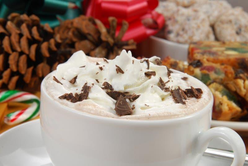 Copo do chocolate quente rico com creme chicoteado fotografia de stock