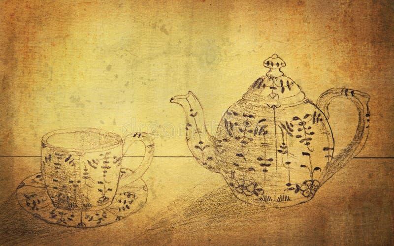 Copo do Coffeepot e do pequeno almoço fotografia de stock