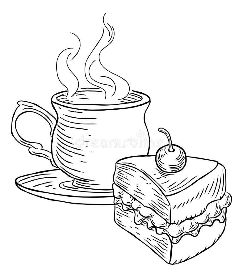 Copo do estilo retro do vintage do chá e do bolo ilustração do vetor