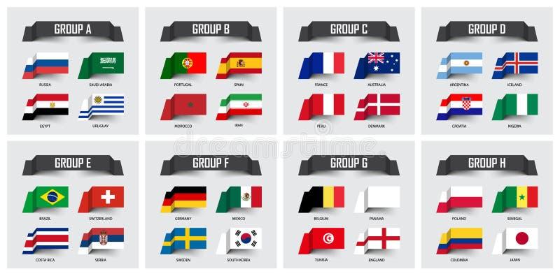Copo 2018 do futebol O grupo de bandeiras nacionais team o grupo A - H Projeto pegajoso da nota Vetor para o tourna internacional ilustração royalty free
