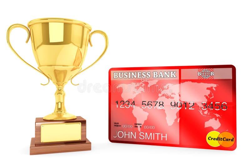 Copo do ouro com cartão de crédito ilustração stock