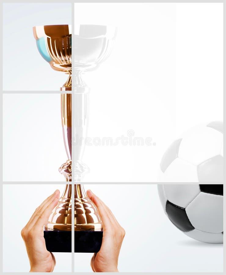 Copo do ouro e esfera de futebol fotografia de stock royalty free