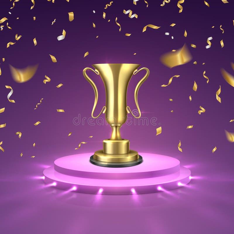 Copo do ouro no pódio Vencedor da competição do negócio ou de esporte Copo honrado da concessão do troféu da fase Ilustração do v ilustração do vetor