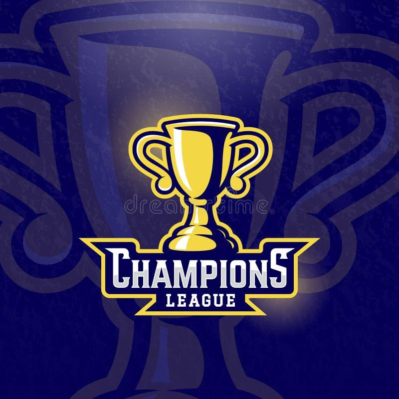 Copo do prêmio da liga dos campeões Sinal, símbolo ou Logo Template do troféu do esporte do vetor Fundo Textured ilustração royalty free