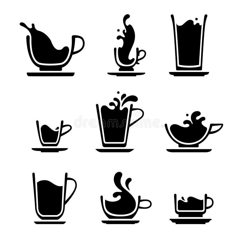 Copo do respingo do chá ou do café ilustração do vetor