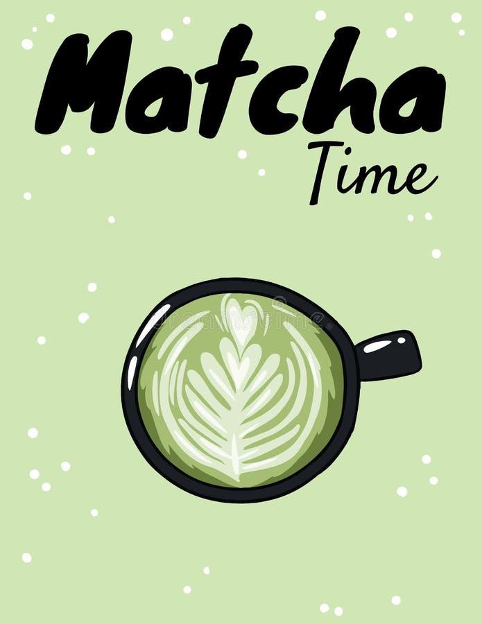 Copo do tempo de Matcha do café verde Cart?o bonito tirado m?o do estilo dos desenhos animados ilustração stock