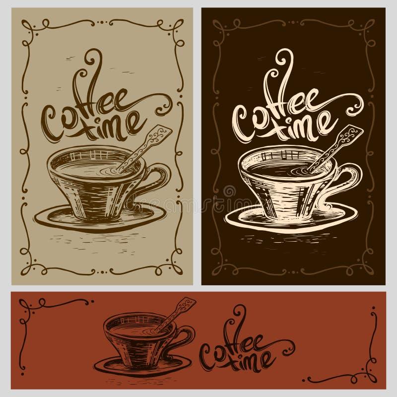 Copo do tempo do café ilustração do vetor