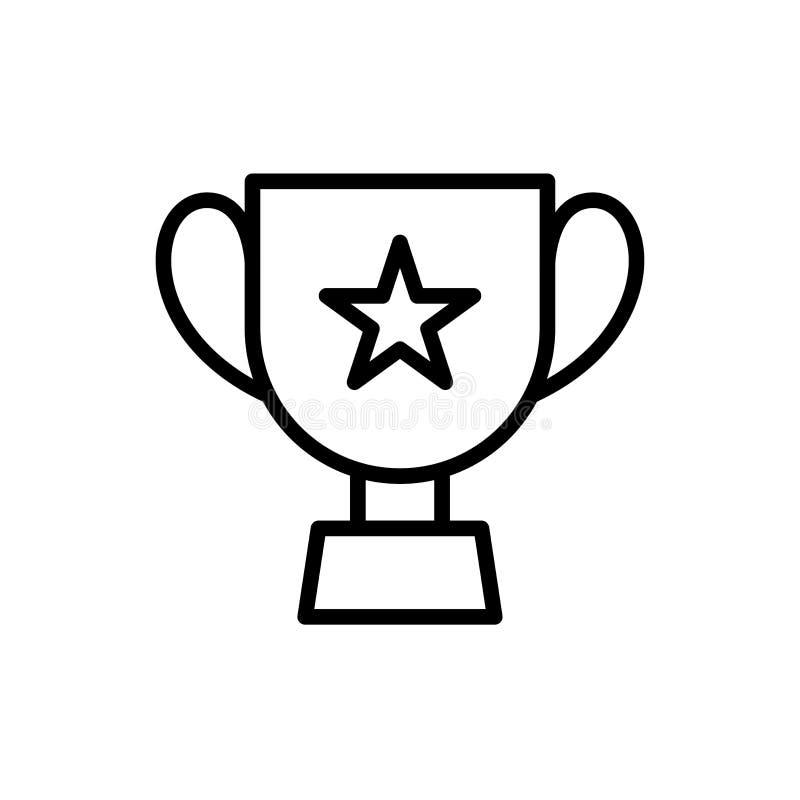 Copo do troféu com ícone da estrela símbolo simples do esporte do estilo do esboço da ilustração ilustração do vetor