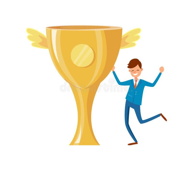 Copo do troféu com Wing Successful Businessman dourado ilustração stock