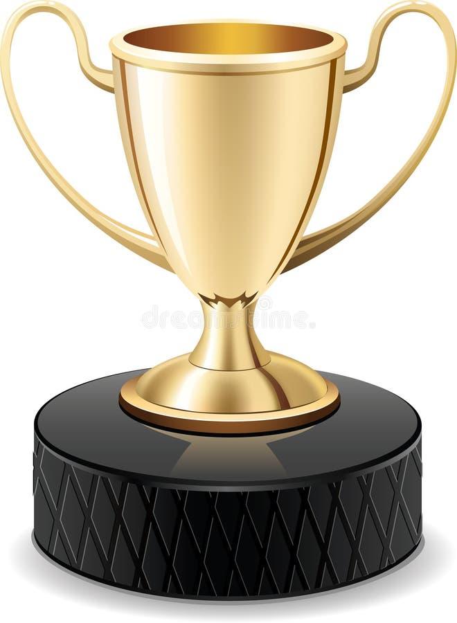 Copo do troféu do ouro do disco de hóquei do gelo ilustração royalty free