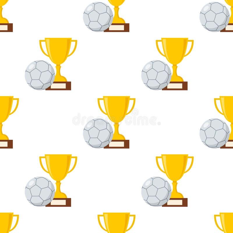 Copo do troféu e bola de Futsal sem emenda ilustração royalty free