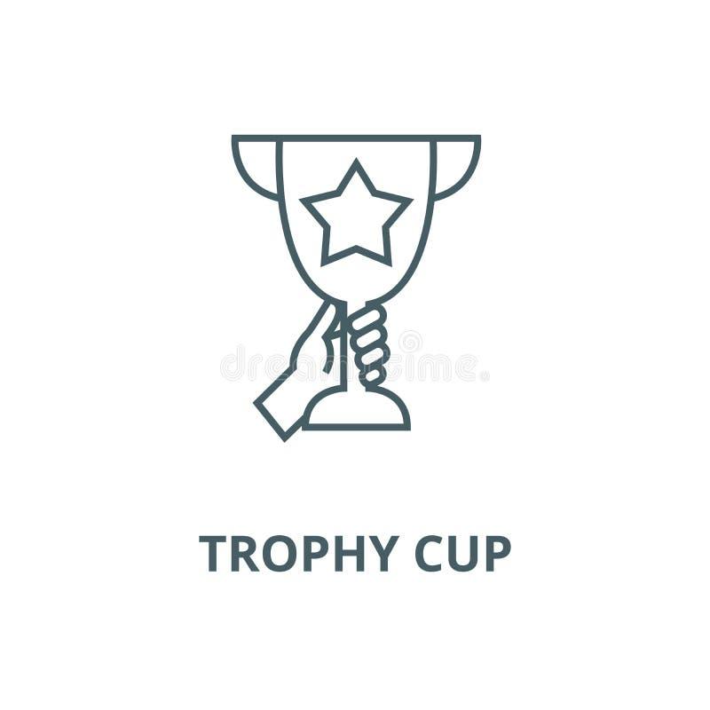 Copo do troféu na linha ícone do vetor das mãos, conceito linear, sinal do esboço, símbolo ilustração stock