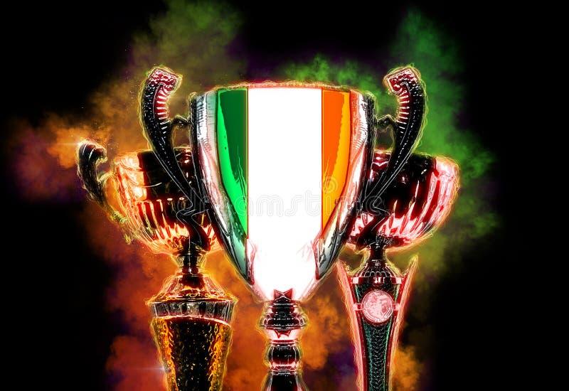 Copo do troféu textured com a bandeira da Irlanda Ilustração de Digitas ilustração royalty free