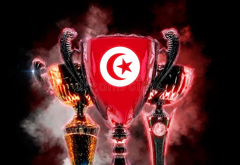 Copo do troféu textured com a bandeira de Tunísia 2D illustratio de Digitas ilustração do vetor
