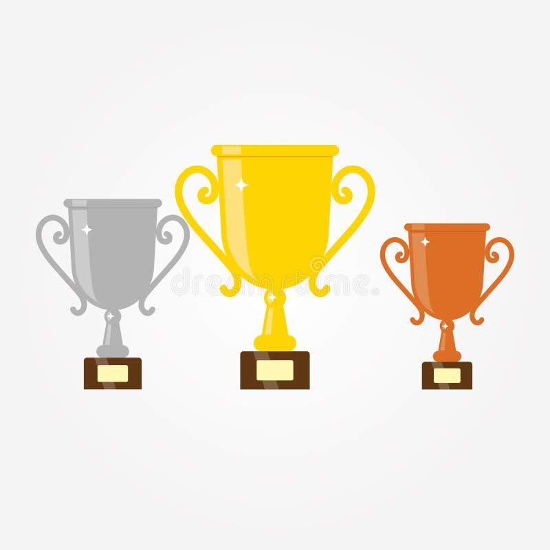 Copo do trof?u do ouro, da prata e do bronze Ícone liso do troféu do vetor com estrelas ilustração do vetor