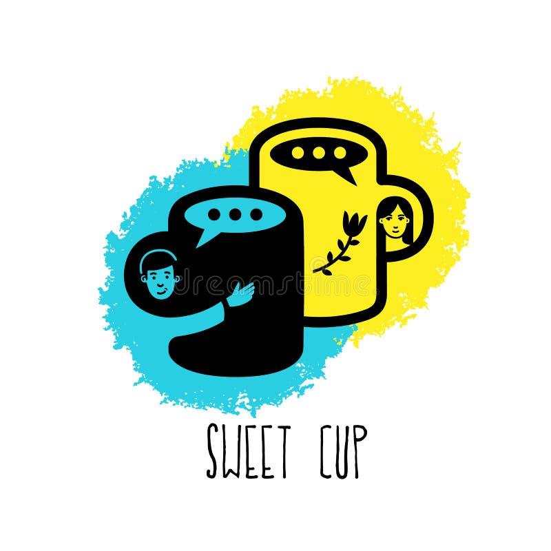 Copo doce Conceito do amor Logotipo do caf? do amor fotos de stock