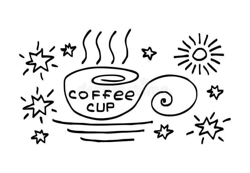 """Copo dos desenhos animados, desenho simbólico com copo café do †da inscrição de """" Desenho preto e branco Mão e desenho manual ilustração stock"""