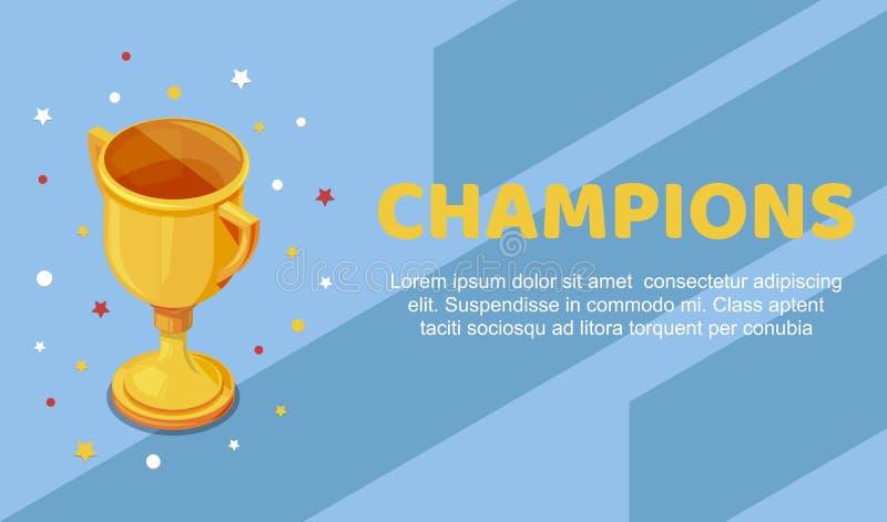 Copo dourado do troféu do campeão com estrelas coloridas ao redor Ilustração do vetor do campeonato dos esportes Copo dourado e o ilustração royalty free