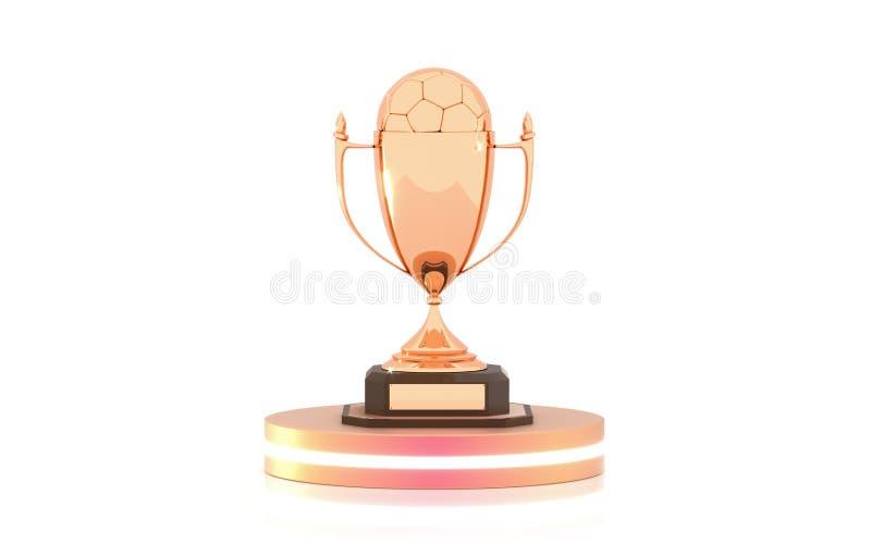 Copo dourado do troféu com a bola de futebol no pódio isolado no fundo branco Copo do vencedor e bola do futebol brilhante ilustração do vetor