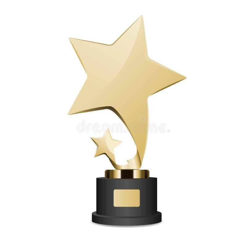 Copo dourado do troféu com grande e ícone pequeno da estrela ilustração do vetor