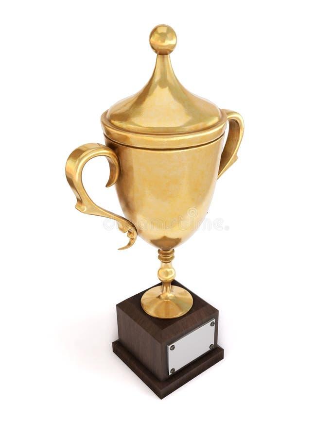 Copo dourado do troféu isolado no fundo branco ilustração 3D ilustração do vetor