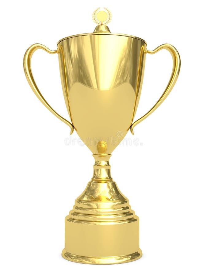 Copo dourado do troféu no branco fotos de stock royalty free
